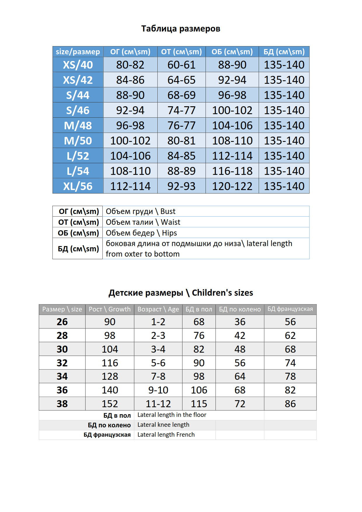 Table of sizes of the manufacturer of wedding and evening dresses for graduation ball Ukraine